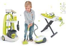 Set cărucior de curăţat cu găleată Clean Smoby verde cu aspirator electronic și masă de călcat