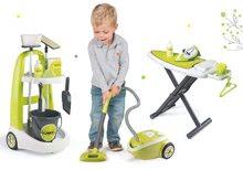 Set úklidový vozík s kbelíkem Clean Smoby elektronický vysavač a žehlicí prkno zelený