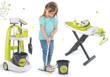 Komplet čistilni voziček z vedrom Clean Smoby in likalna deska z elektronskim likalnikom zeleni
