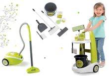 Komplet čistilni voziček z vedrom Clean Smoby in elektronski sesalnik zeleni