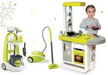 Szett takarítókocsi vödörrel Clean Smoby, porszivó és játékkonyha hanggal zöld