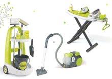Set úklidový vozík s kbelíkem Clean Smoby žehlicí prkno a vysavač Rowenta zelený
