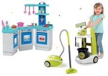 Szett takarítókocsi vödörrel Clean Smoby és játékkonyha porszívóval zöld