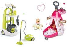 Set úklidový vozík s kbelíkem Clean Smoby, vysavač a přebalovací vozík s panenkou zelený