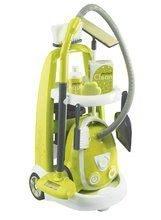 Dětský úklidový vozík Clean Smoby s elektronickým vysavačem a 9 doplňky zelený