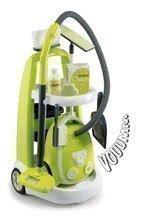 Cărucior de curăţenie Clean Smoby cu aspirator electronic şi cu 9 accesorii verde
