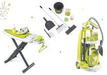 Set úklidový vozík s elektronickým vysavačem Clean Smoby a žehlicí prkno s žehličkou