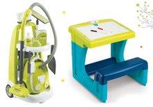 Szett takarítókocsi elektronikus porszívóval Clean Smoby és iskolapad kétoldalú táblával