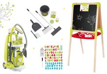 Set úklidový vozík s elektronickým vysavačem Clean Smoby a školní tabule oboustranná magnetická