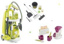 Set úklidový vozík s elektronickým vysavačem Clean Smoby a čajová souprava s toasterem a kávovarem