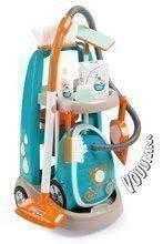 Úklidový vozík s elektronickým vysavačem Vacuum Cleaner Smoby tyrkysový s 9 doplňky