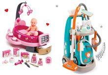 Hry na domácnost - Set úklidový vozík s elektronickým vysavačem Clean Smoby a pečovatelské centrum s panenkou_26
