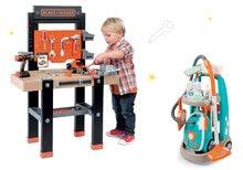 Set upratovací vozík s elektronickým vysávačom Vacuum Cleaner Smoby a pracovný stôl Black&Decker