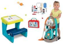 Hry na domácnosť - Set upratovací vozík s elektronickým vysávačom Vacuum Cleaner Smoby a lavica s obojstrannou tabuľou alekárskym kufríkom_24
