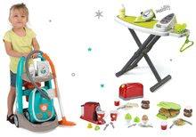 Hry na domácnosť - Set upratovací vozík s elektronickým vysávačom Vacuum Cleaner Smoby so žehliacou doskou a hriankovač s vaflovačom a kávovarom_24
