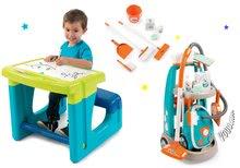 Hry na domácnosť - Set upratovací vozík s elektronickým vysávačom Clean Smoby a lavica s tabuľou Little Pupils_29