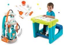 Hry na domácnosť - Set upratovací vozík s elektronickým vysávačom Clean Smoby a lavica s tabuľou Little Pupils_30
