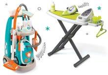 Hry na domácnost - Set úklidový vozík s elektronickým vysavačem Clean Smoby a se žehlicím prknem a žehličkou_24