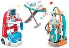 Set lekársky vozík elektronický Medical Smoby a upratovací vozík s vysávačom a žehliacou doskou