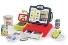Pénztárgép gyerekeknek Marchande Smoby elektronikus hangeffektekkel, mérleggel, vonalkód leolvasóval és 25 kiegészítővel piros