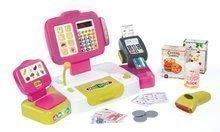 Detská pokladňa Mini Shop Smoby elektronická s váhou, terminálom, čítačkou kódov a 27 doplnkami ružová