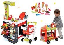 Obchody pre deti sety - Set obchod Supermarket Smoby s elektronickou pokladňou a vozík so zmrzlinou a upratovací set_33