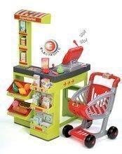 Detský obchod Supermarket Smoby s elektronickou pokladňou, vozíkom, potravinami a 44 doplnkami zelený