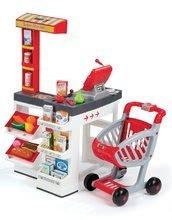Detský obchod Supermarket Smoby s elektronickou pokladňou, vozíkom, potravinami a 44 doplnkami biely