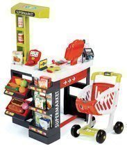 Obchod pro děti Supermarket Smoby elektronický s váhou, pokladnou, potravinami a 41 doplňky červený