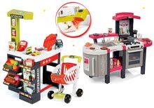 Set detský obchod Supermarket Smoby s elektronickou pokladňou a kuchynka Superchef s grilom