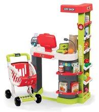 Közért City Shop Smoby elektronikus pénztárgéppel, élelmiszerekkel és 41 kiegészítővel piros