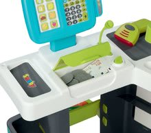 Obchody pre deti - Obchod s potravinami Market Smoby tyrkysový s elektronickou pokladňou, skenerom a 34 doplnkov_1