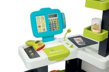Obchody pre deti - Obchod s potravinami Market Smoby tyrkysový s elektronickou pokladňou, skenerom a 34 doplnkov_0