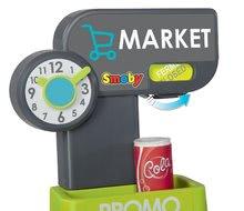 Obchody pre deti - Obchod s potravinami Market Smoby tyrkysový s elektronickou pokladňou, skenerom a 34 doplnkov_2