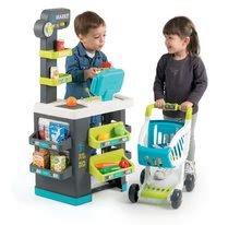 Obchody pre deti - Obchod s potravinami Market Smoby tyrkysový s elektronickou pokladňou, skenerom a 34 doplnkov_4