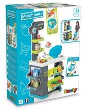 Obchody pre deti - Obchod s potravinami Market Smoby tyrkysový s elektronickou pokladňou, skenerom a 34 doplnkov_5