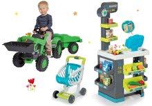 Szett közért élelmiszerekkel Market Smoby és pedálos traktor Jim Loader