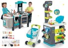 Szett közért élelmiszerekkel Market Smoby és elektronikus játékkonyha Tefal French Touch Bubble bugyogással