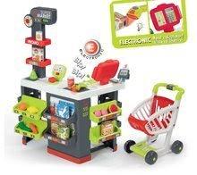 Obchod s vozíkom Supermarket Smoby červený s elektronickou pokladňou a skenerom, váhou a 42 doplnkov