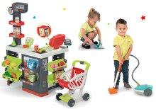 Set obchod s vozíkem Supermarket Smoby a vysavač Rowenta Artec 2 se zvukem a smeták s lopatkou