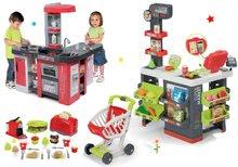 Szett közért bevásárlókocsival Supermarket Smoby és játékkonyha Tefal Studio XXL Bubble és kenyérpirító gofrisütővel
