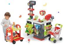 Set obchod s vozíkom Supermarket Smoby červený a zmrzlinársky vozík s hamburgermi SM350213-5
