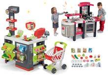 Szett közért bevásárlókocsival Supermarket Smoby és játékkonyha Tefal Super Chef Deluxe hanggal és bugyogással