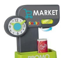 Obchody pro děti - Obchod s chladicím boxem Fresh City Market Smoby s elektronickou pokladnou skenerem a 34 doplňků_14