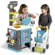 Obchody pro děti - Obchod s chladicím boxem Fresh City Market Smoby s elektronickou pokladnou skenerem a 34 doplňků_4