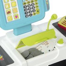 Obchody pro děti - Obchod s chladicím boxem Fresh City Market Smoby s elektronickou pokladnou skenerem a 34 doplňků_10