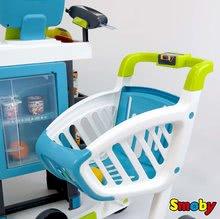 Obchody pro děti - Obchod s chladicím boxem Fresh City Market Smoby s elektronickou pokladnou skenerem a 34 doplňků_3