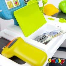Obchody pro děti - Obchod s chladicím boxem Fresh City Market Smoby s elektronickou pokladnou skenerem a 34 doplňků_13