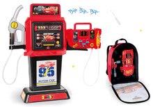 Komplet bencinske črpalke Cars 3 Smoby elektronske in nahrbtnik z orodjem in avtomobilčkom McQueen