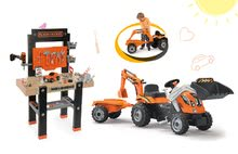 Komplet delavnica Black+Decker Smoby z vrtalnikom in traktor Power Builder Max s prikolico in bagrom